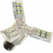 Diodlampa 12V 24xSMD 3-wing gul/orange BAU15s